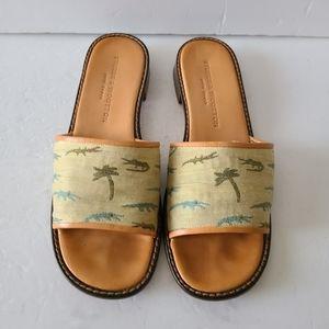 Stubbs & Wootton Tan Alligator Palm Tree Sandals